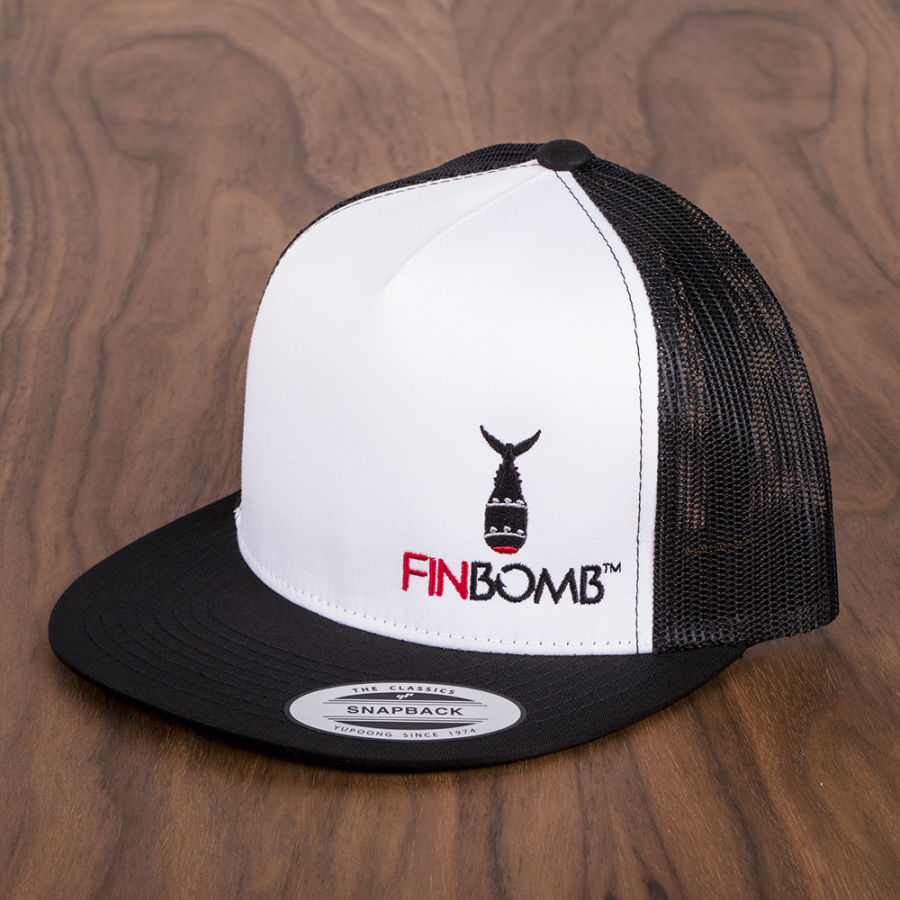 Finbomb classic mesh trucker hat 6006 black white finbomb for Fishing trucker hats