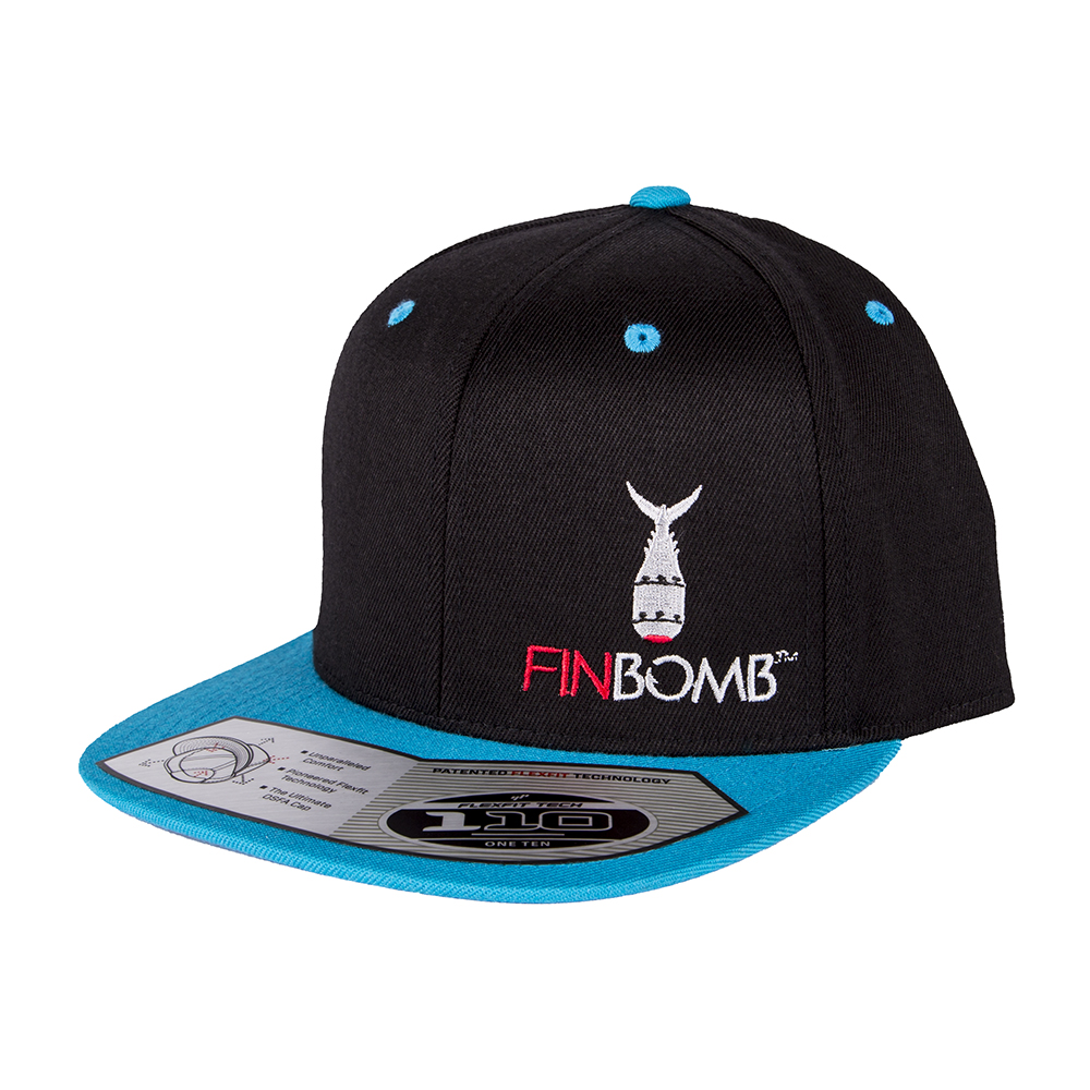 Finbomb fishing hat trucker snapback 110 teal black front for Fishing trucker hats