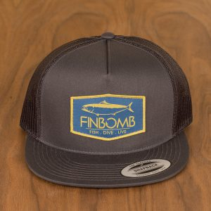 yellowtail patch mesh snapback charcoal front