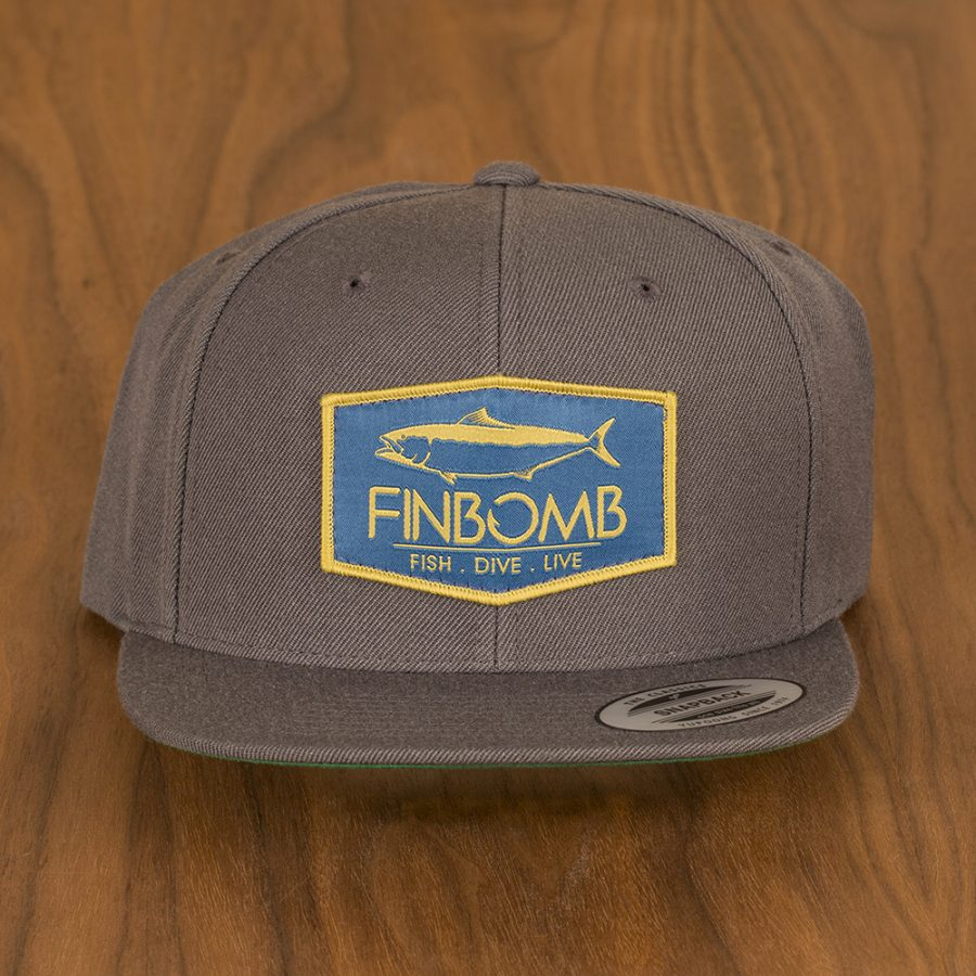Yellowtail Patch Navy Gold Snapback Hat (6089 CHARCOAL)  397811e67416